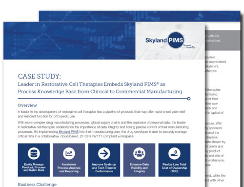 Leader in Restorative Cell Therapies Embeds Skyland PIMS® as Process Knowledge Base from Clinical to Commercial Manufacturing